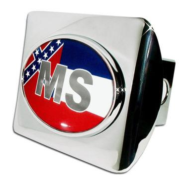 Mississippi Flag Emblem on Chrome Hitch Cover