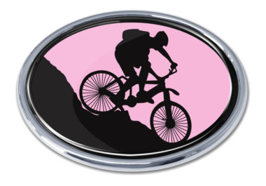 Mountain Biking Pink Chrome Emblem