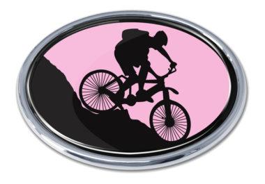 Mountain Biking Pink Chrome Emblem