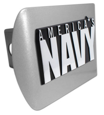America's Navy Emblem on Brushed Hitch Cover