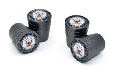 Navy Valve Stem Caps - Black Smooth