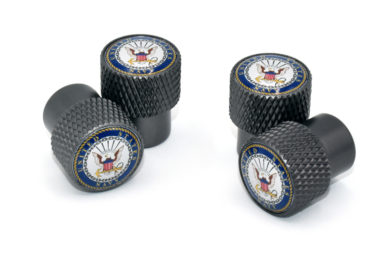 Navy Valve Stem Caps - Black Knurling