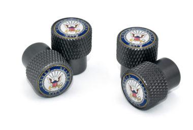 Navy Valve Stem Caps - Black Knurling image