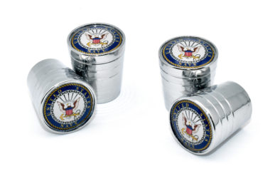 Navy Valve Stem Caps - Chrome Smooth