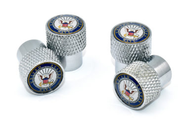 Navy Valve Stem Caps - Chrome Knurling