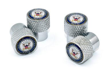 Navy Valve Stem Caps - Chrome Knurling