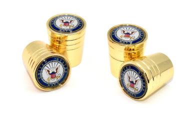 Navy Valve Stem Caps - Gold Smooth