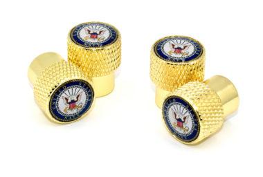 Navy Valve Stem Caps - Gold Knurling