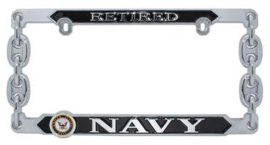Navy Retired 3D License Plate Frame