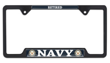 Full-Color Navy Retired Black Open License Plate Frame