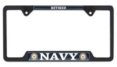 Full-Color Navy Retired Black Open License Plate Frame image