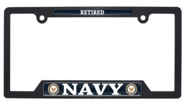 Navy Retired Black Plastic Open License Plate Frame image