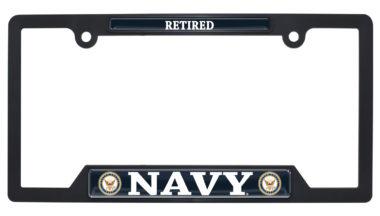 Full-Color Navy Retired Black Plastic Open License Plate Frame