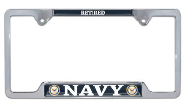 Full-Color Navy Retired Open License Plate Frame