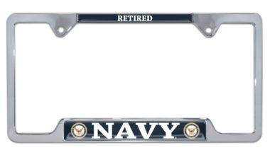 Full-Color Navy Retired Open License Plate Frame image