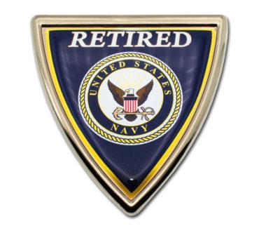 Navy Retired Shield Chrome Emblem