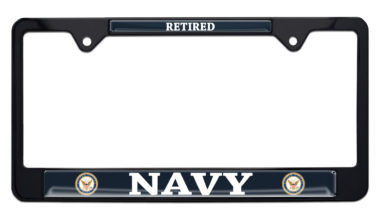 Full-Color Navy Retired Color Black License Plate Frame
