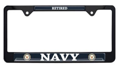 Full-Color Navy Retired Color Black License Plate Frame