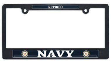 Full-Color Navy Retired Black Plastic License Plate Frame