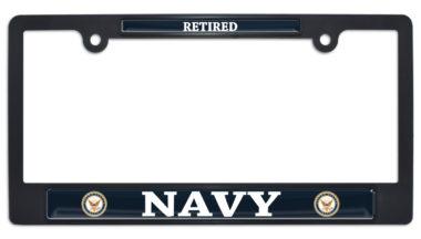 Full-Color Navy Retired Black Plastic License Plate Frame image