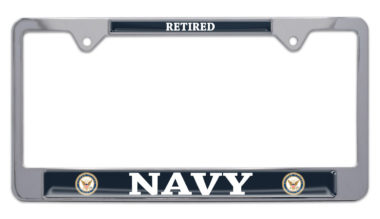 Full-Color Navy Retired License Plate Frame image