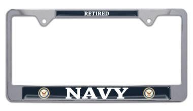 Full-Color Navy Retired License Plate Frame image