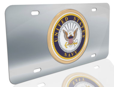 Navy Seal on Stainless Steel License Plate