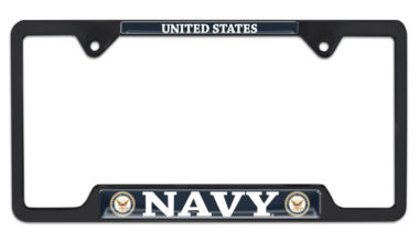 Full-Color US Navy Black Open License Plate Frame