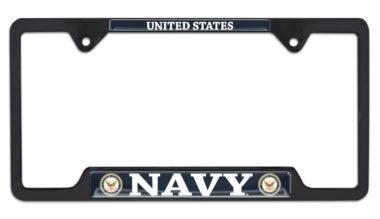 Full-Color US Navy Black Open License Plate Frame image