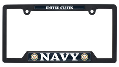 Full-Color US Navy Black Plastic Open License Plate Frame