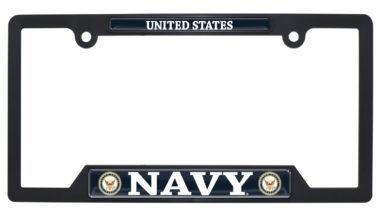 Full-Color US Navy Black Plastic Open License Plate Frame image