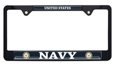 Full-Color US Navy Black License Plate Frame