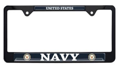 Full-Color US Navy Black License Plate Frame image