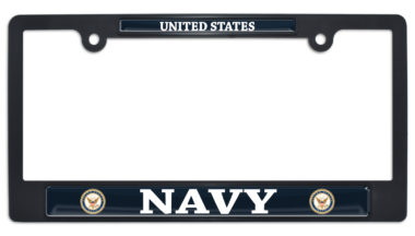 Full-Chrome US Navy Black Plastic License Plate Frame image