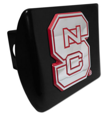 North Carolina State Red Emblem on Black Hitch Cover