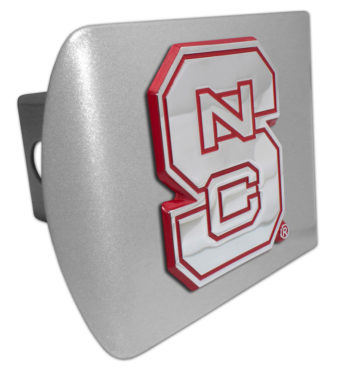 North Carolina State Red Emblem on Brushed Hitch Cover