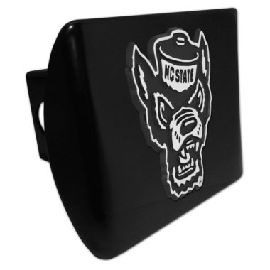 North Carolina State Wolfie Emblem on Black Metal Hitch Cover