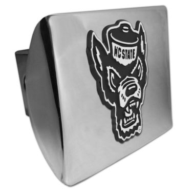 North Carolina State Wolfie Emblem on Chrome Hitch Cover