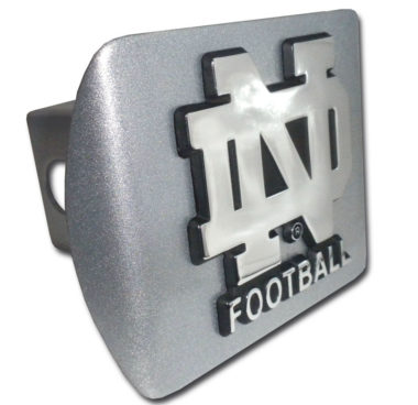 Notre Dame Football Emblem on Brushed Chrome Hitch Cover