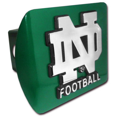 Notre Dame Football Emblem on Green Hitch Cover