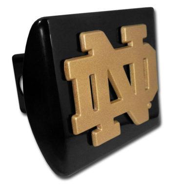 Notre Dame Gold Emblem on Black Hitch Cover