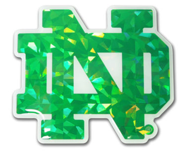 Notre Dame Green Outline 3D Reflective Decal