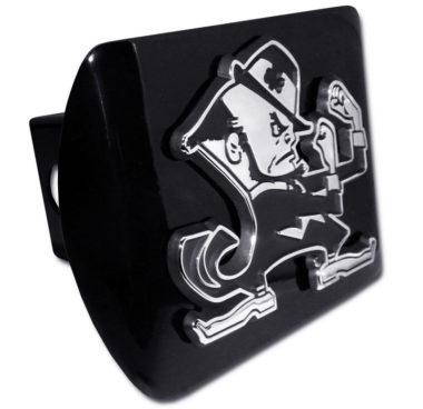 Notre Dame Leprechaun Emblem on Black Hitch Cover