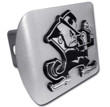 Notre Dame Leprechaun Emblem on Brushed Hitch Cover