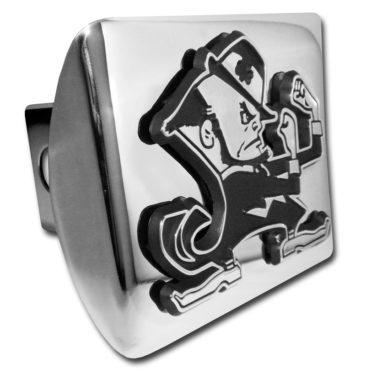 Notre Dame Leprechaun Emblem on Chrome Hitch Cover