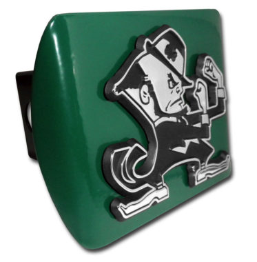 Notre Dame Leprechaun Emblem on Green Hitch Cover