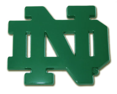 Notre Dame Green Powder-Coated Emblem