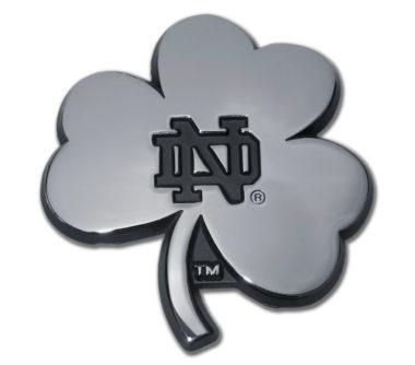 Notre Dame Shamrock Chrome Emblem