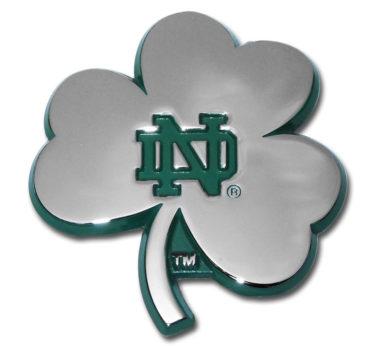 Notre Dame Shamrock Green Chrome Emblem