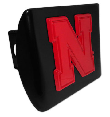 University of Nebraska Red Emblem on Black Hitch Cover